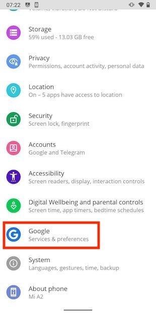 Open Google's settings