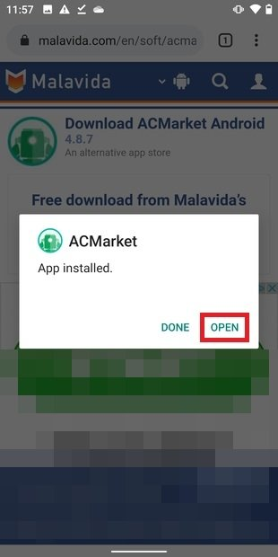 Ouvrir l'application installée