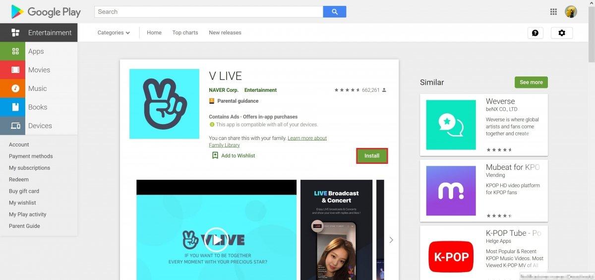Abra o app ou game no Google Play e clique em Install