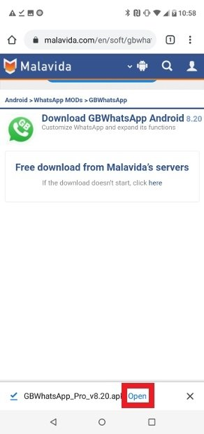 Abre la app recién descargada