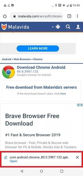 Ouvrez l'APK de Chrome téléchargée