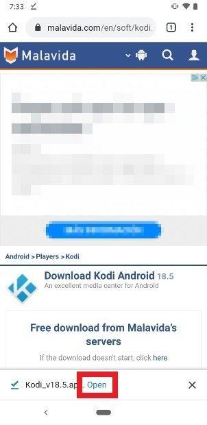 Apri l'APK di Kodi scaricato