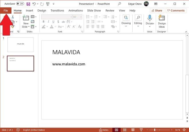 Open the File menu