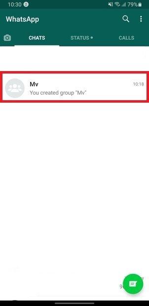 Abra o grupo