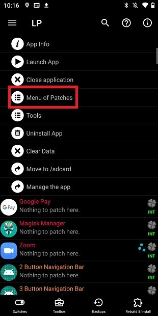 Open the menu of patches