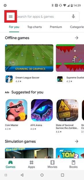 Abre el menú de Play Store
