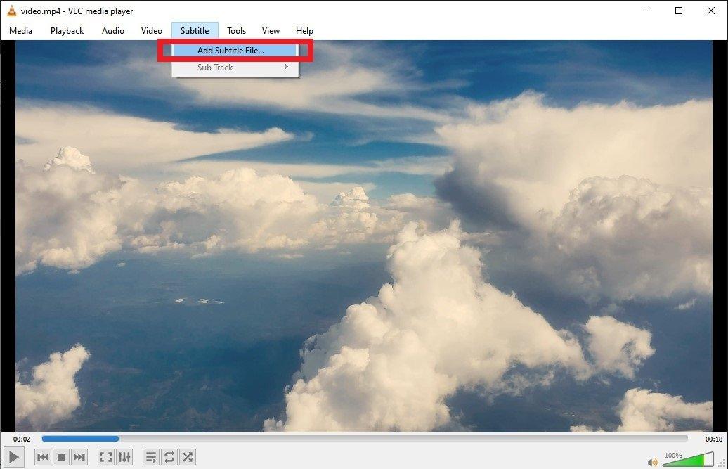 Open the Subtitles menu in VLC
