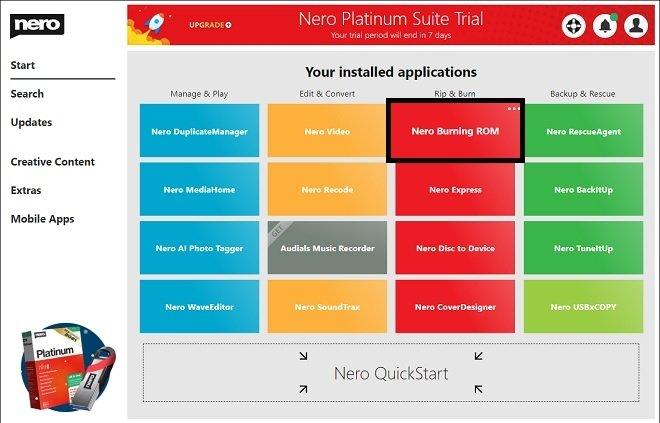 Abrir herramienta desde Nero Start