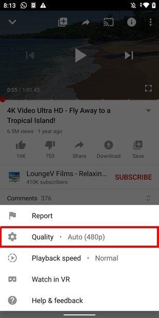 Abrir selector de calidad del vídeo