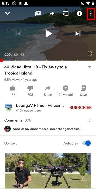 Open the video settings