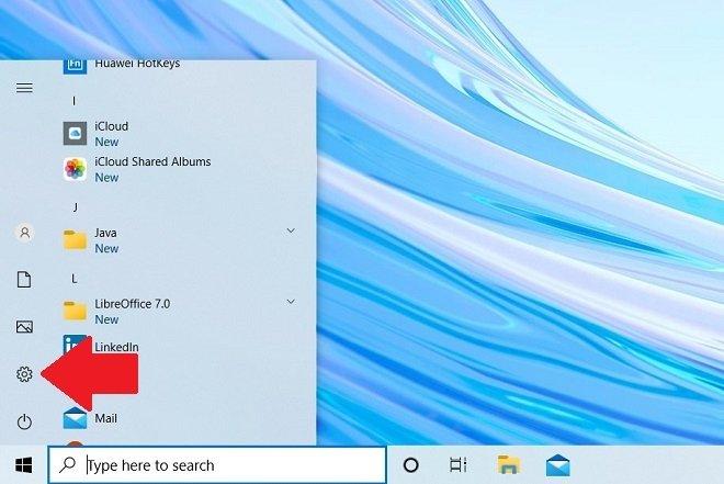 Open the Windows 10 configuration