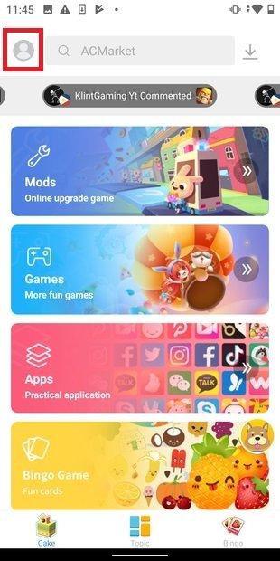 Ouvrir le menu utilisateur