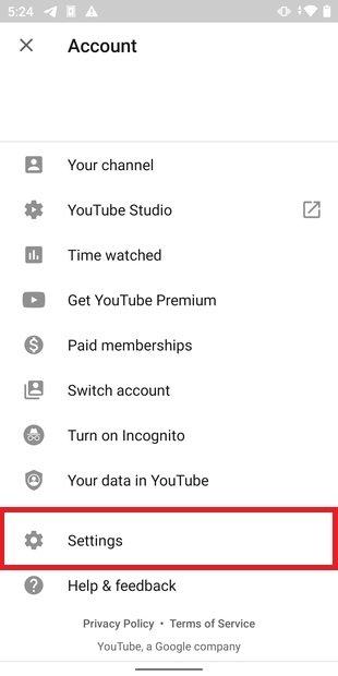 Abrir ajustes de YouTube para Android
