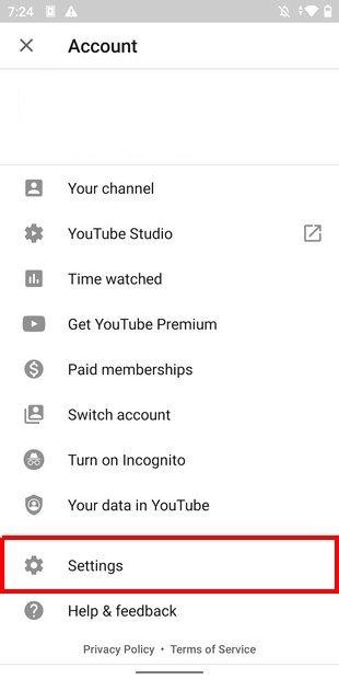 Abrir ajustes de YouTube