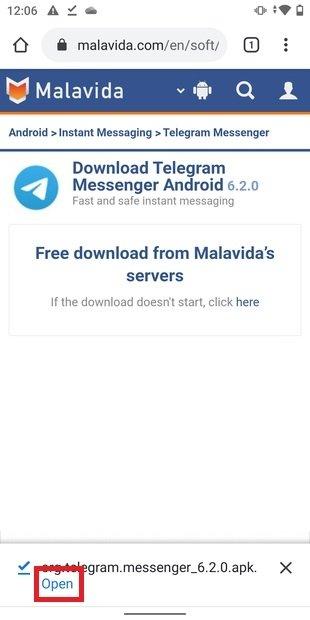 Abrir APK de Telegram