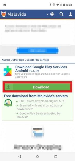 Möglichkeit zum Herunterladen von Google Play-Dienste aus unserem Web