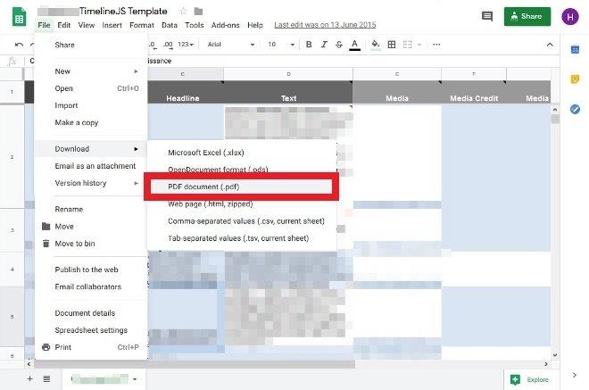 Opción para descargar PDF de Google Sheets