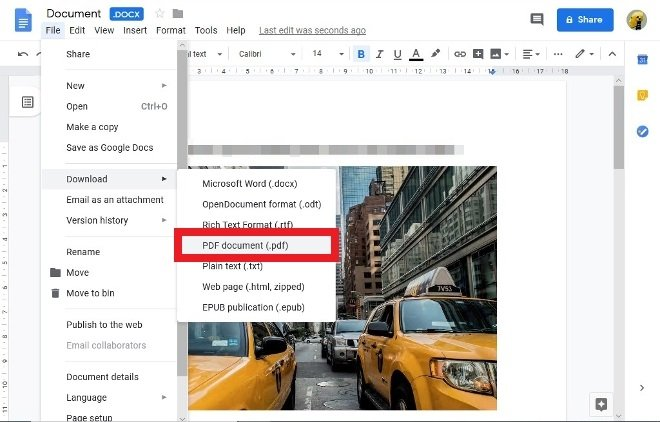 Option to save as PDF in Google Docs