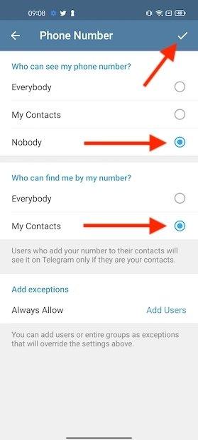 Options disponibles concernant le numéro de téléphone