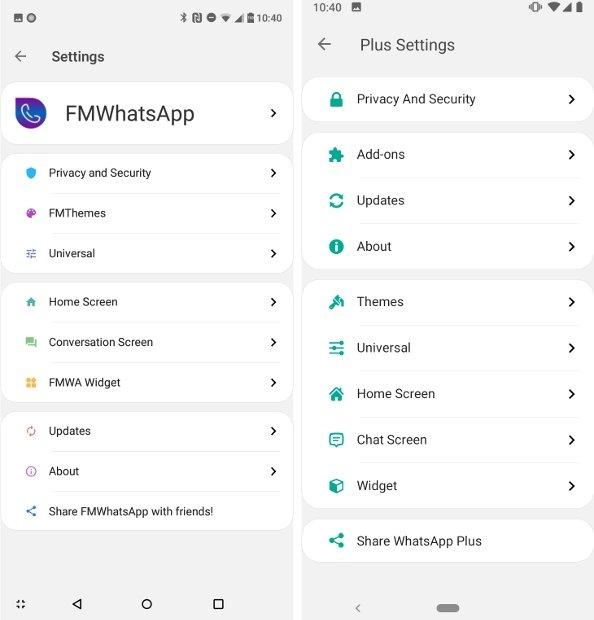 Menú de opciones de ambas apps