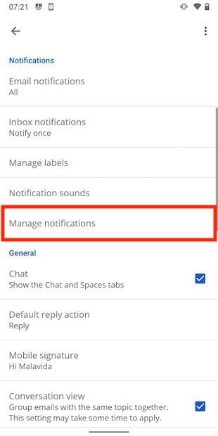 Other notification options