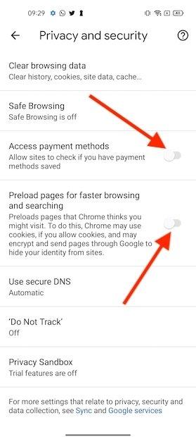 Altre impostazioni di privacy