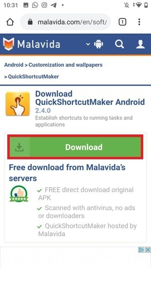 Страница загрузки QuickShortcutMaker