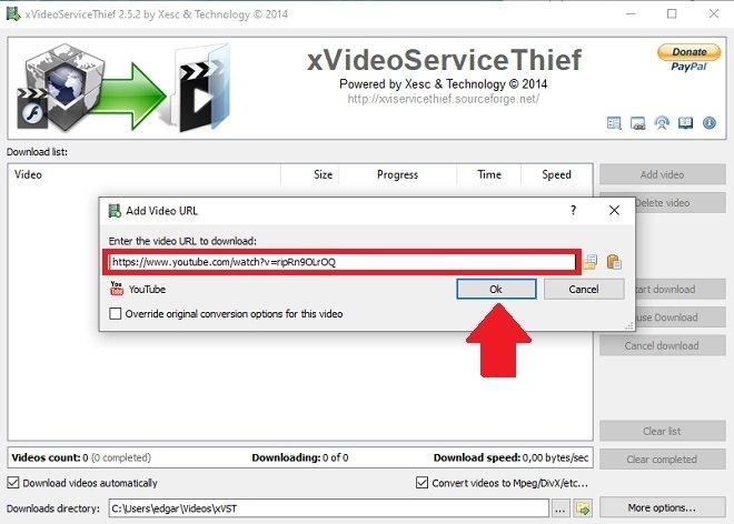 Pegar URL del vídeo