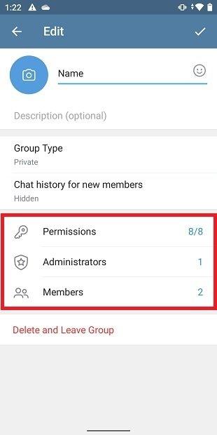Permisos de los grupos de Telegram
