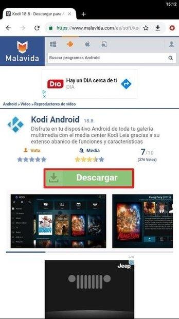 Página de acceso a la descarga de Kodi