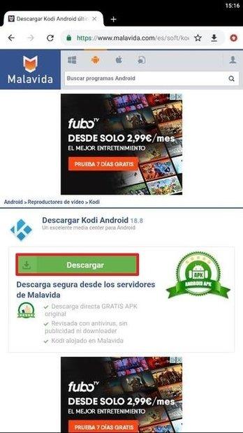 Página de descarga de Kodi