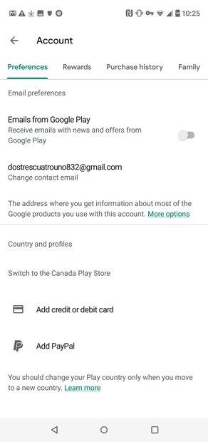Play Store detecta que estamos no Canadá
