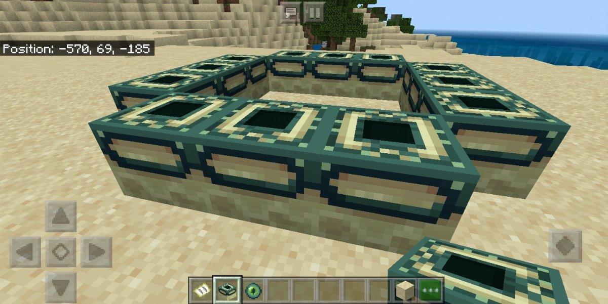 Estructura del portal con lados de 3 bloques