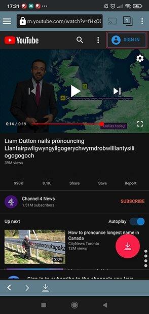 Posibilidad de iniciar sesión en YouTube