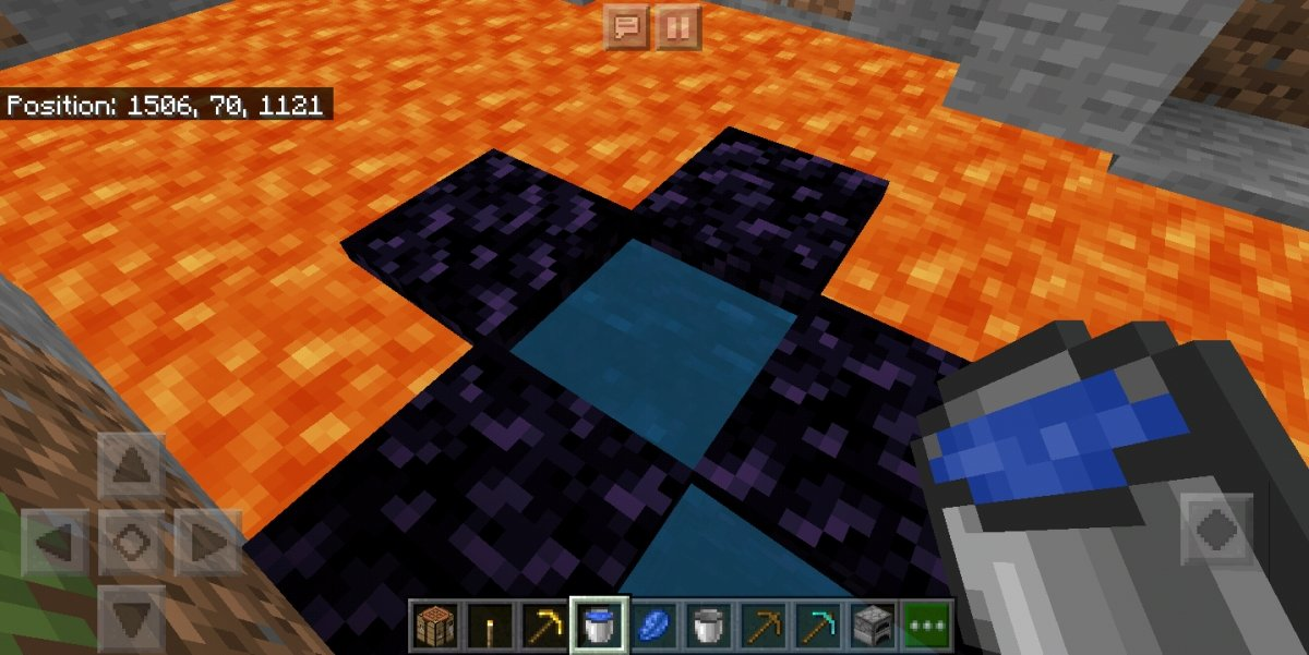 How to build a Nether Portal in Minecraft - Pour water over lava to create obsidian