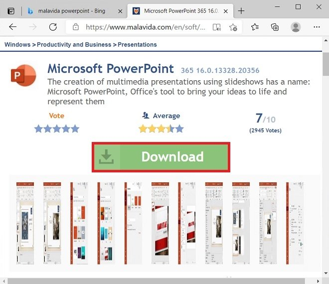 PowerPoint's datasheet at Malavida