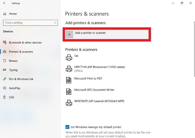 Pulsa sobre Add a printer or scanner