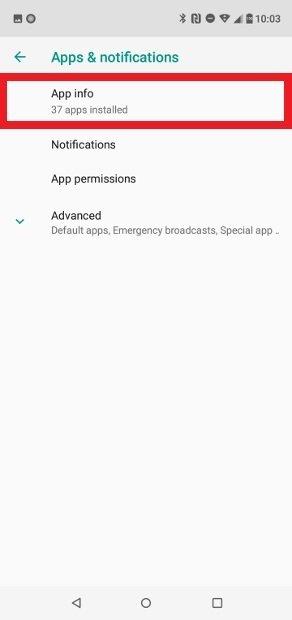 Pulsa sobre App info