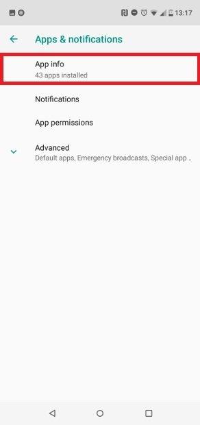 Clique em  App Info