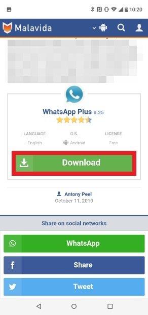 Pulsa sobre Download para descargar WhatsApp Plus