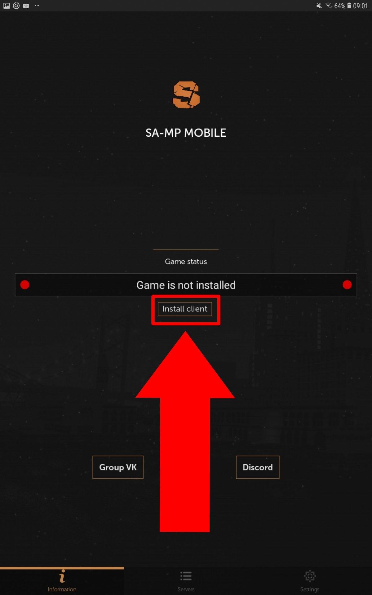 Toca en Install client para comenzar el proceso de instalación de SA-MP Mobile