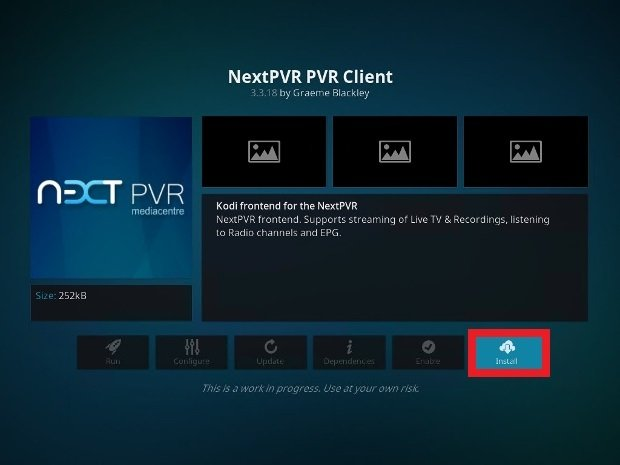 Press Install to add the PVR add-on