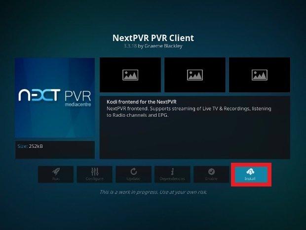 Clique sur Install pour ajouter l'add-on PVR