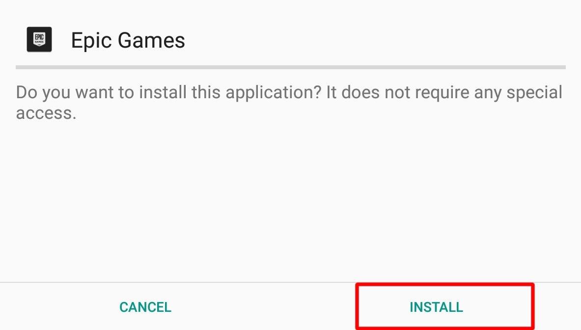 Nous cliquons sur Installer pour installer l'application
