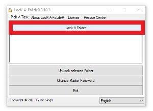 Presiona sobre Lock A Folder