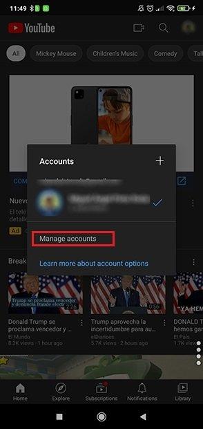 Presiona en Manage accounts