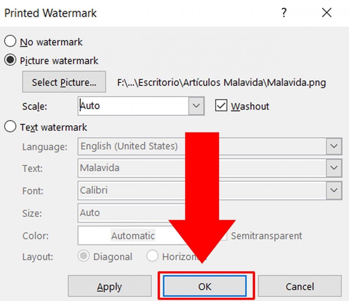 Klicke auf OK und das Wasserzeichen wird neu eingefügt