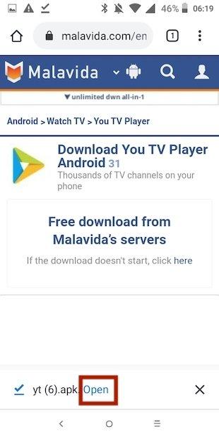 Pulsar Abrir You TV Player