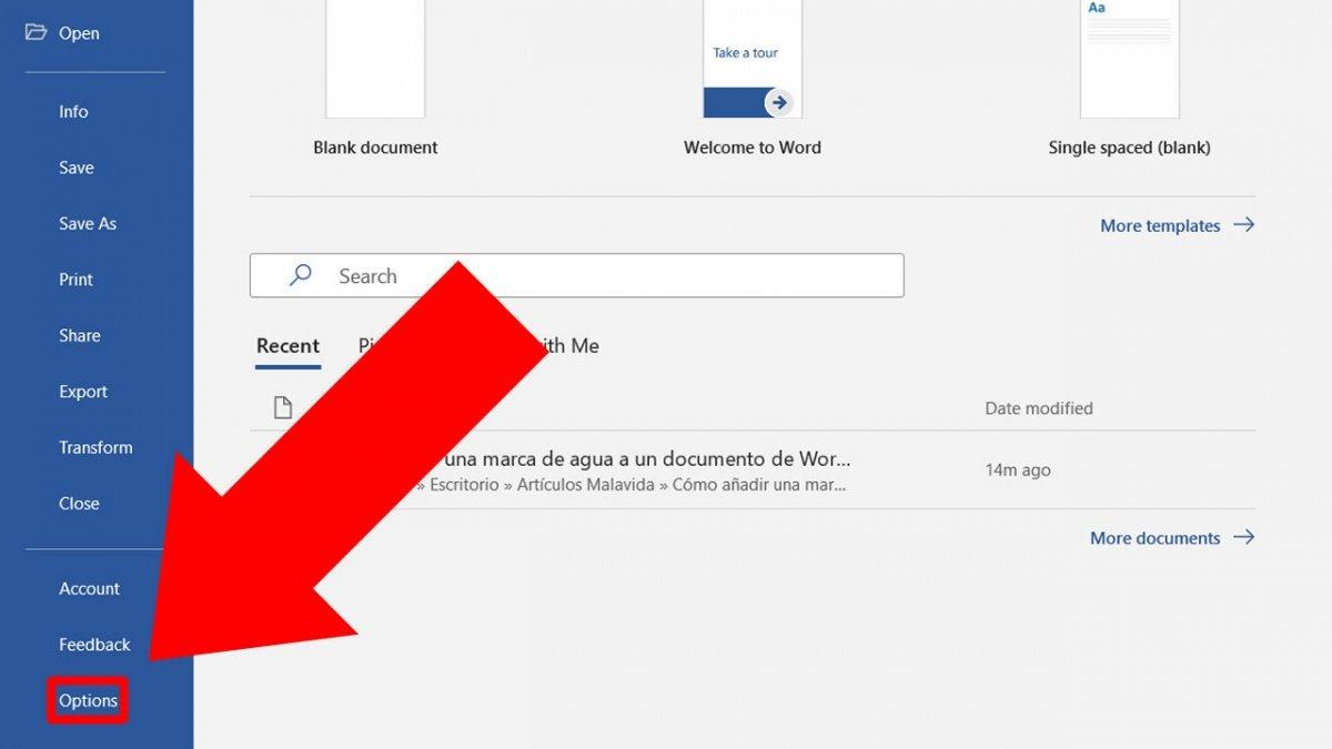 Press Options to change the preferences of your documents