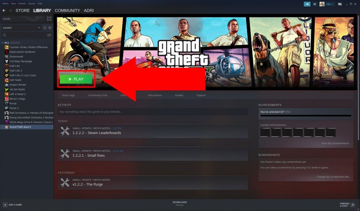 Nous cliquons sur Jouer pour commencer à jouer à GTA V